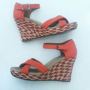 Toms orange espadrille wedge sandals 7